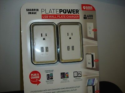 New Plate Power Usb Wall Charger Sharper Image Plug Charge