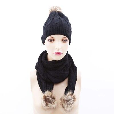 Autumn Winter Women Hat Scarf Set Solid Pompoms Ball Knitted Beanie Hat one