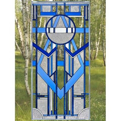 "Blue Art Deco Glass Window Panel Suncatcher 20.5"" x 42"" Architectural Decor"