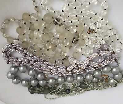 Vintage Beaded Necklace Lot of 6 - Clear Gray Glass Frosted Jewelry Long