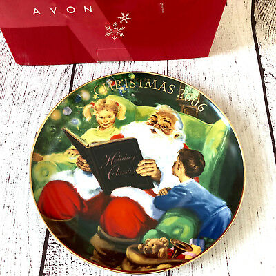 Avon CHRISTMAS PLATE 2006 Storytime With Santa  Plate Trimmed with 22K Gold