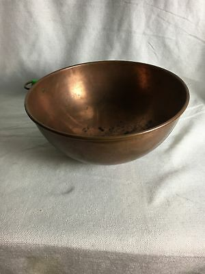 "Vintage large 9"" diameter French Copper Mixing Bowl with brass hanging ring"