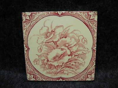 Antique Art Nouveau Rose Red Transfer Poppy Tea Tile Square Trivet Hot Plate