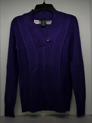 Women's Faded Glory Cable V-neck Sweater Size SM Heavy Weight Dark Purple NWT!