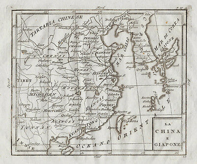 Original antique map of China, Korea and Japan by Rizzi Zannoni from 1790