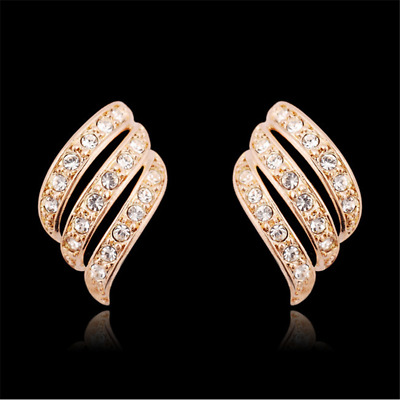 925Silver/Rose Gold Personality Stud Earrings Angel Wings White Sapphire-Studded