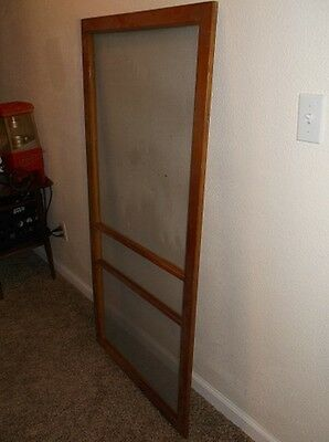 Antique Vintage Brown Wooden Screen Door Architectural Salvage Decor Repurpose