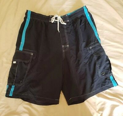 4e6aea02a3 Sonoma Life & Style Men's Swim Trunks Boardshorts Size Large Navy Aqua  Stripes