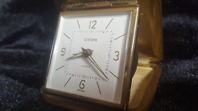 Vintage Europa 2 Jewels Travel Alarm Clock - Hard Case - Made In Germany