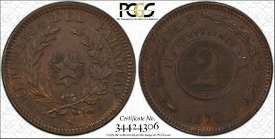 1870 Paraguay 2 Centesimos Pcgs Ms62 Brown Pop.1 Brazil/argentina