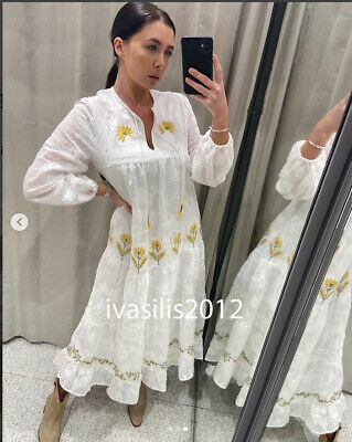 d0a473aff23 Zara New Tunic With Contrasting Embroidery Dress A-Line Belt Xs-Xl 4786