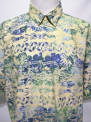 4e009734f Rum Reggae Yellow Green Blue Tuna Fish Squid Short Sleeve Aloha Shirt Mens  XL