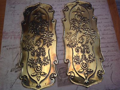 Reclaimed Solid Brass Door Finger Plates Antque finish 2 plates Fancy Classic 1