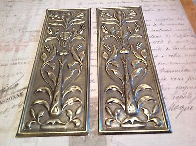 Reclaimed Solid Brass Door Finger Plates Antique finish short style 2 plates
