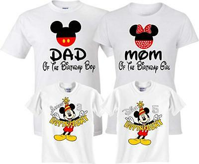 Mickey Minnie Custom Mom Dad Family Birthday Boy Girl Customized RED T Shirts