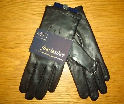 M&S Collection Ladies Leather Gloves Black Size S