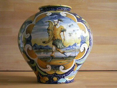 Mid To Late 19Th Century Cantigalli Vase Hp With Roman Soldier And Moon Shield