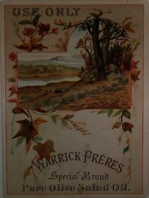 1880s Victorian trade card  Warrick Freres Olive Oil New York Grasse France Food