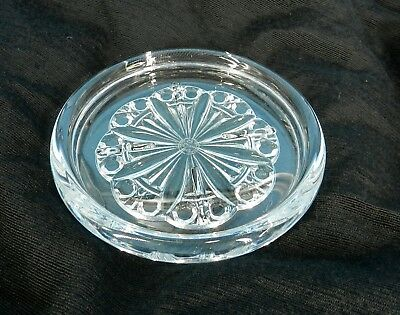 """Baccarat French Crystal Glass Rosace Champagne Wine Bottle Coaster Signed 5.25"""""""