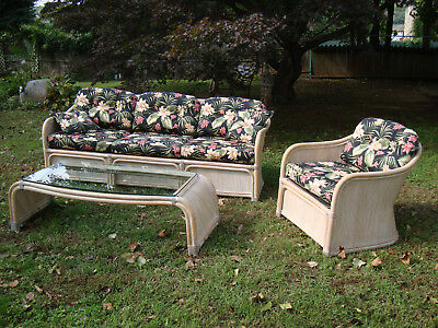 Vintage Henry Link Wicker Rattan Couch Table Chair Sofa Sunroom Living Room Set