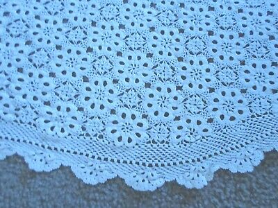 Antique French Hand-Made Crochet Round Table Cloth Coverlet 6 Ft.