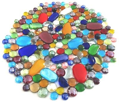 200 x Mixed Rainbow Colored Glass Mosaic Gem Stones - Assorted Shapes & Sizes