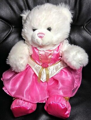 Build a Bear White /Pink Teddy Bear Clean Pink Princess Gown And Slippers  Flaws