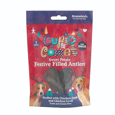 Rosewood Christmas Sweet Potato Festive Filled Antlers Stocking Filler Dog Treat