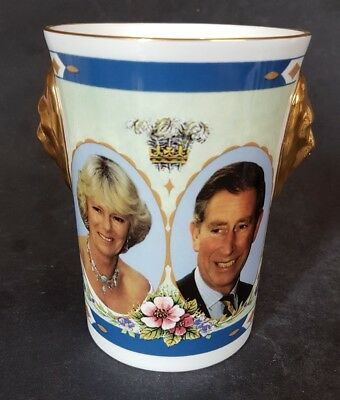 Caverswall Lionhead Beaker - The Engagement of Prince Charles to Camilla 2005