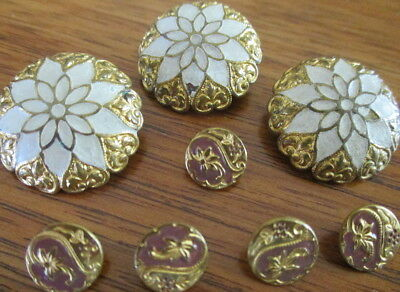 Antique Lot Of 8 Painted/enamel/brass~3 Lg~5 Dimi~Vintage French Metal Buttons