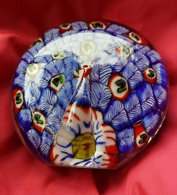 VTG Art Glass Paperweight Peacock Millefiori Feathers Native American Teepee 3""