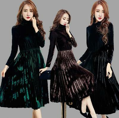 New Fashion Womens Thicken Long Sleeves Pleated Vintage High Neck Velvet Dress