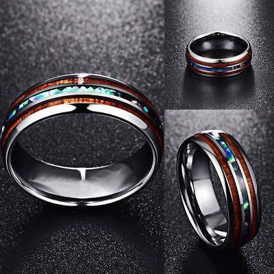 8mm Hawaiian Koa Abalone Wood and Shell Tungsten Carbide Rings for Men Jewelry