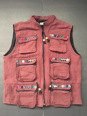 1990s VINTAGE GUATEMALA WOVEN EMBROIDERED LINED FULL ZIP HIKING VEST MENS XL EUC