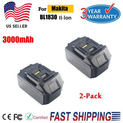 2X For Makita BL1860 BL1845 LXT 18V 3.0Ah Lithium Ion Battery BL1840 BL1830 NEW