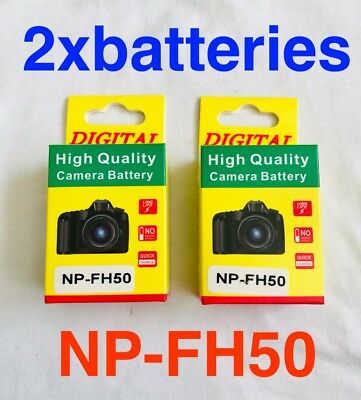 NP-FH50 1000mAh Rechargeable Battery x2 For Sony FH50 FH60 FH70 DSLR A230 A330
