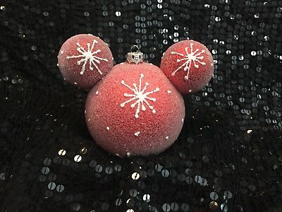 Disney Parks Mickey Ears Icon Large Red Ball Snowflake Christmas Ornament