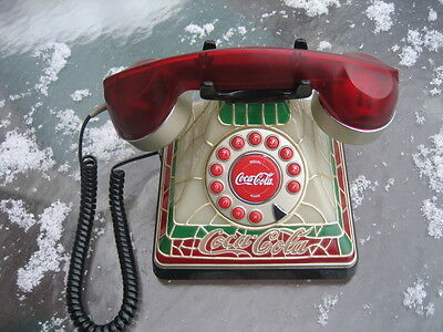 "Coca-Cola  ""2001""  Tiffany Stained Glass Look Telephone Retired Super Clean!"