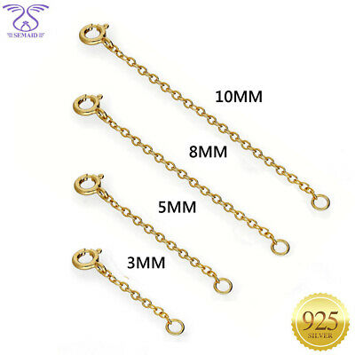 SEMAID Solid 925 Sterling Silver Chain Necklace Extender 1 2 3 4 Inches Gold