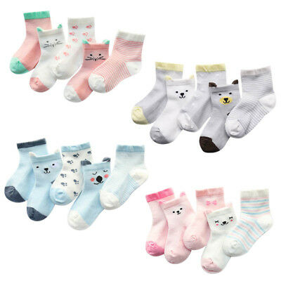 5 Pairs Baby Socks Boy Girls Cartoon Cotton Socks Newborn Infant Toddler Socks
