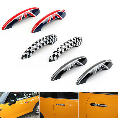 Union Jack UK Flag Checkered Door Handle Cover For Mini Cooper R50 R52 R53 B1
