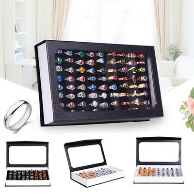 72 SLOT Ring Display Case Organizer Glass Top Jewelry Storage Box Tray Holder