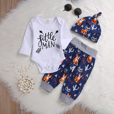 3PCS Toddler Kids Baby Boys Long Sleeve Jumpsuit Top Animal Pants Hat Outfit Set