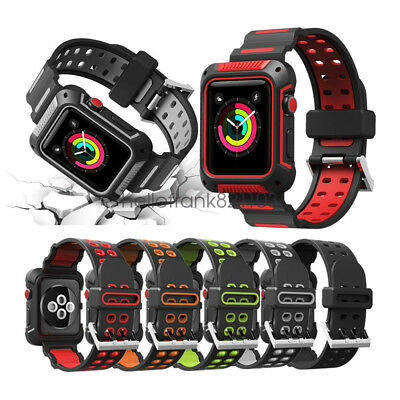 Rugged Protective Case with Wrist Strap For Apple Watch Bands Series 5 4 44mm