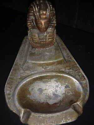 Art Deco  Ashtrays Egyptian Revival Pharoah  Tobacciana Brass Vintage Smoking