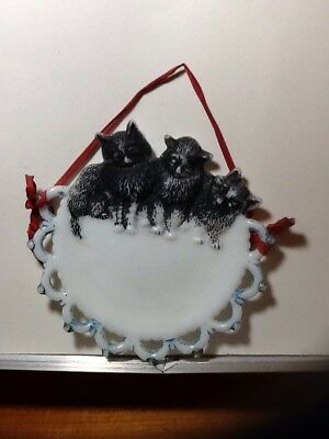 Vintage Milkglass Cat Kitten Plate