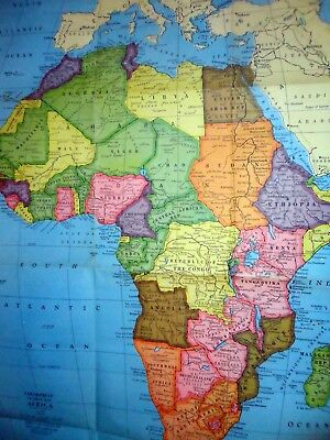 """Giant Africa Colorprint #9567 vintage 1960s American Map Co 29"""" x 42"""""""