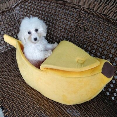 Small Pet Dog Cat Bed Banana Shape Fluffy Warm Soft Plush Home Bed House Fun Toy