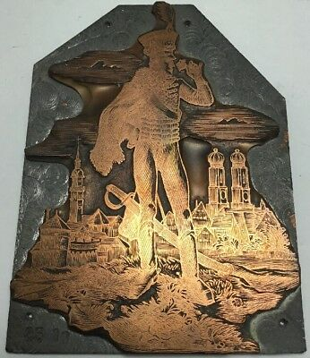 Vintage Copper Printing Plate  Military Soldier
