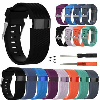 Replacement Silicone Strap Band Wristband Tool Kit For Fitbit Charge HR Activity